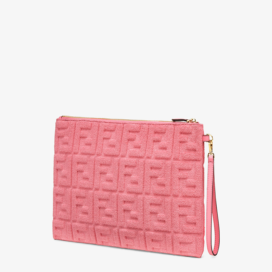 FENDI FLAT POUCH LARGE - Pink terrycloth pouch - view 2 detail