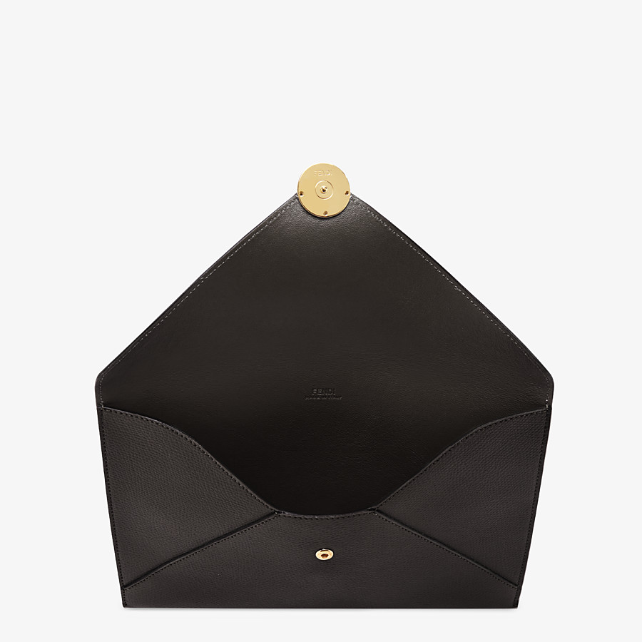 FENDI FLAT POUCH LARGE - Black leather pouch - view 3 detail
