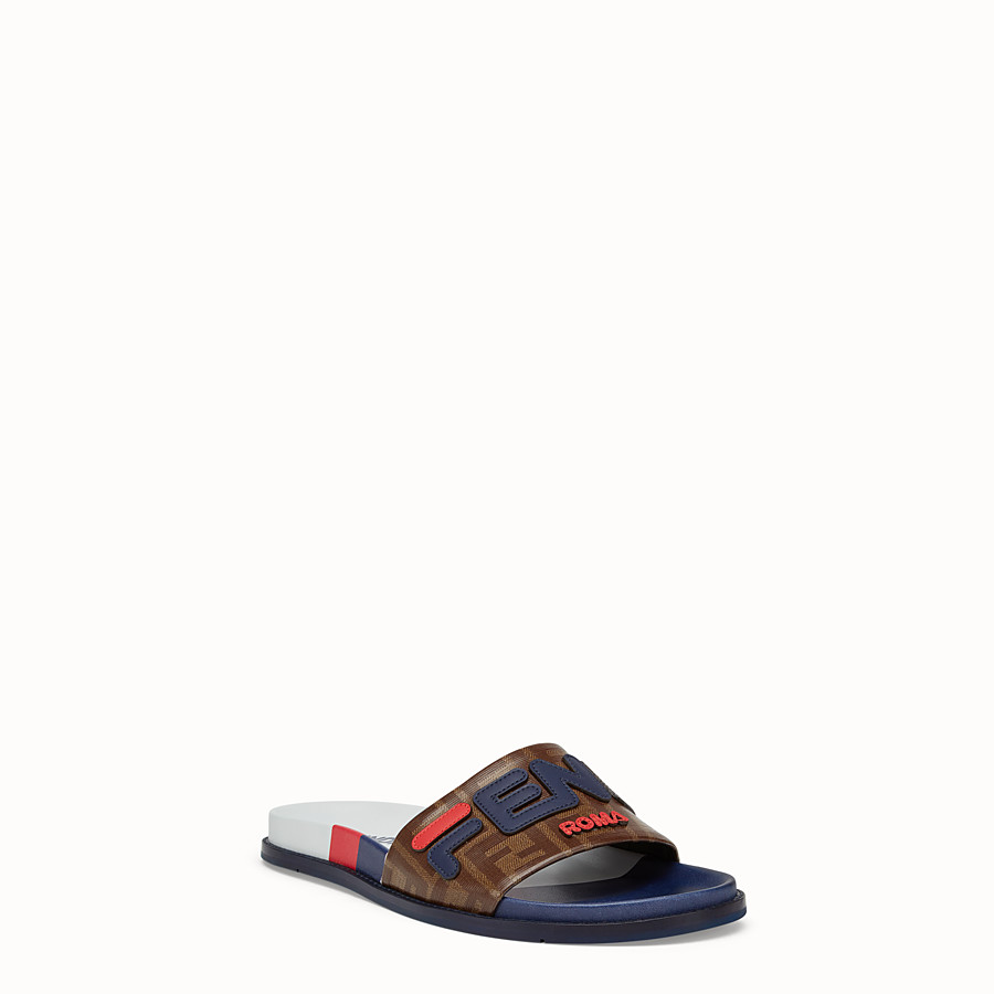 FENDI SLIDES - Multicoloured rubber Fussbet sandals - view 2 detail