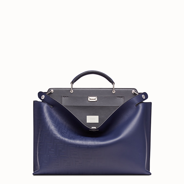FENDI PEEKABOO ICONIC ESSENTIAL - Blue calf leather bag - view 1 small thumbnail