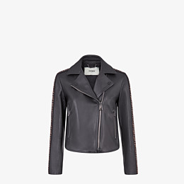 FENDI JACKET - Black leather jacket - view 1 thumbnail