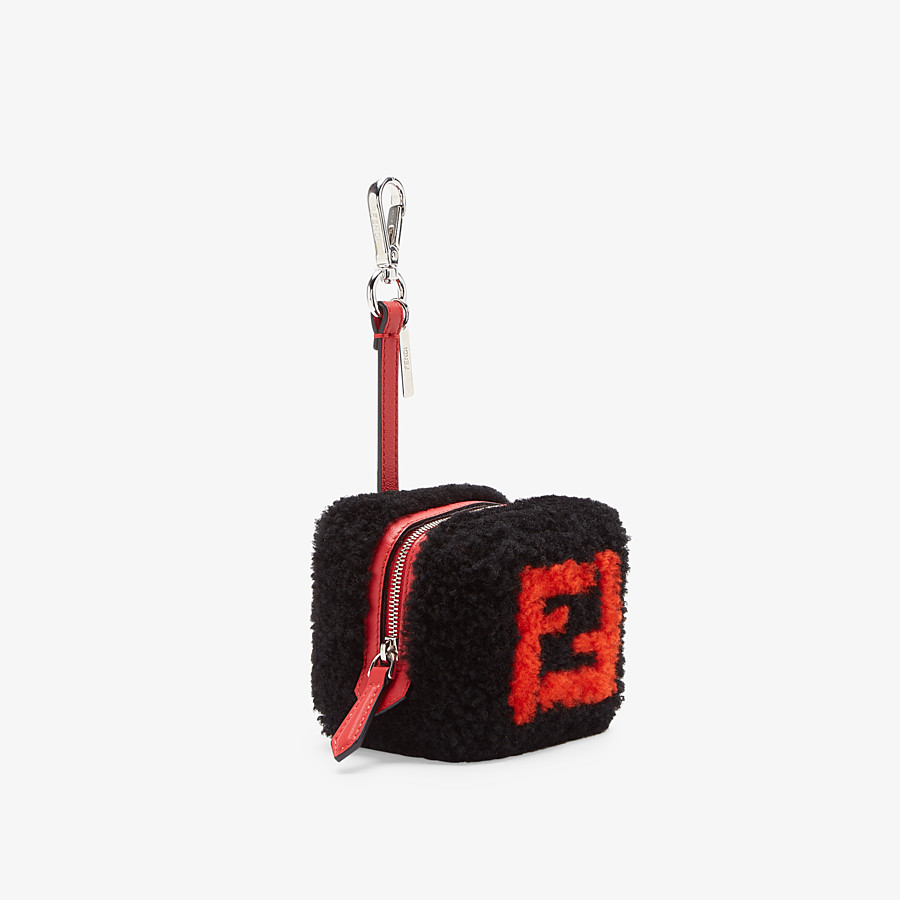 FENDI COIN PURSE - Black sheepskin charm - view 1 detail