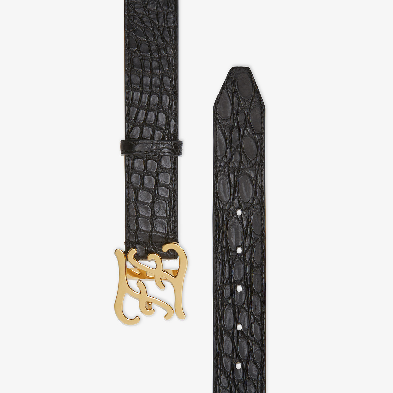 FENDI BELT - Black caiman belt - view 2 detail