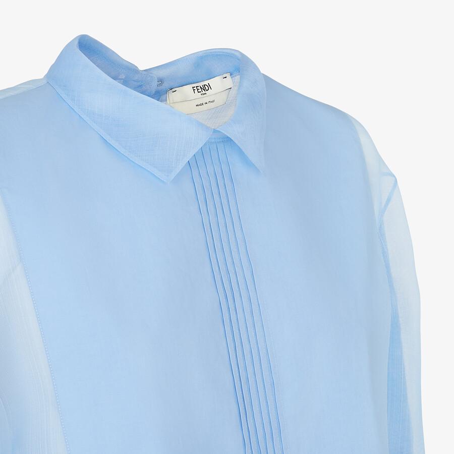 FENDI SHIRT - Light blue silk shirt - view 3 detail