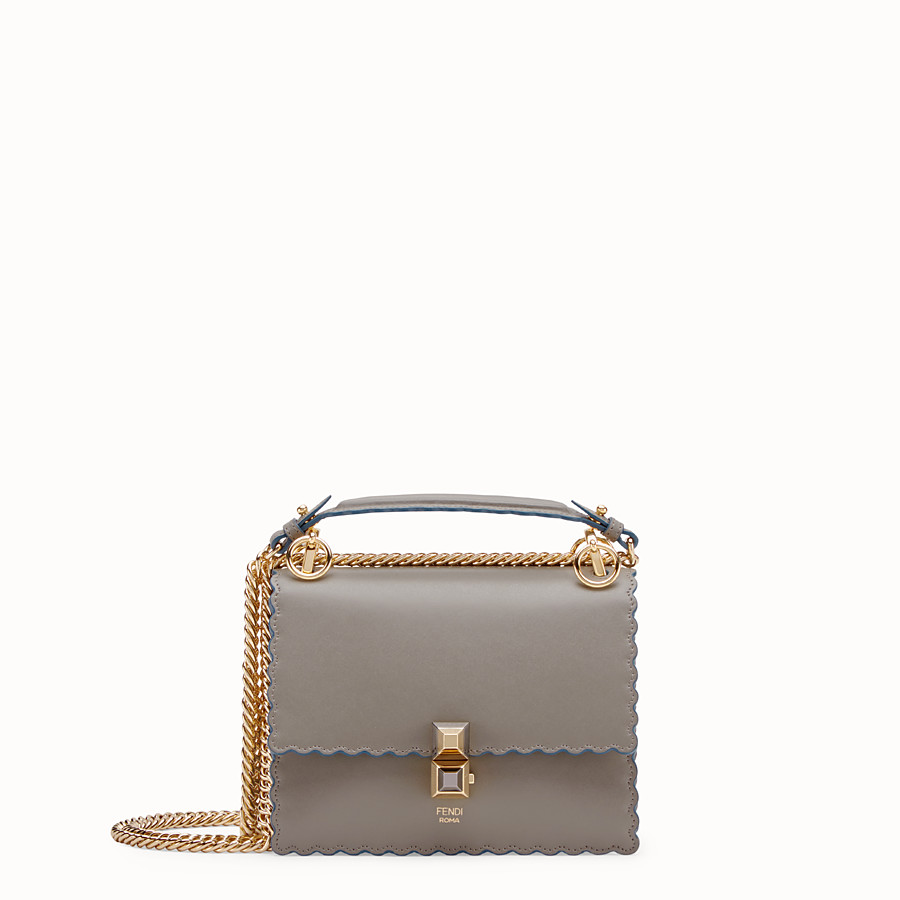 FENDI KAN I SMALL - Grey leather mini-bag - view 1 detail