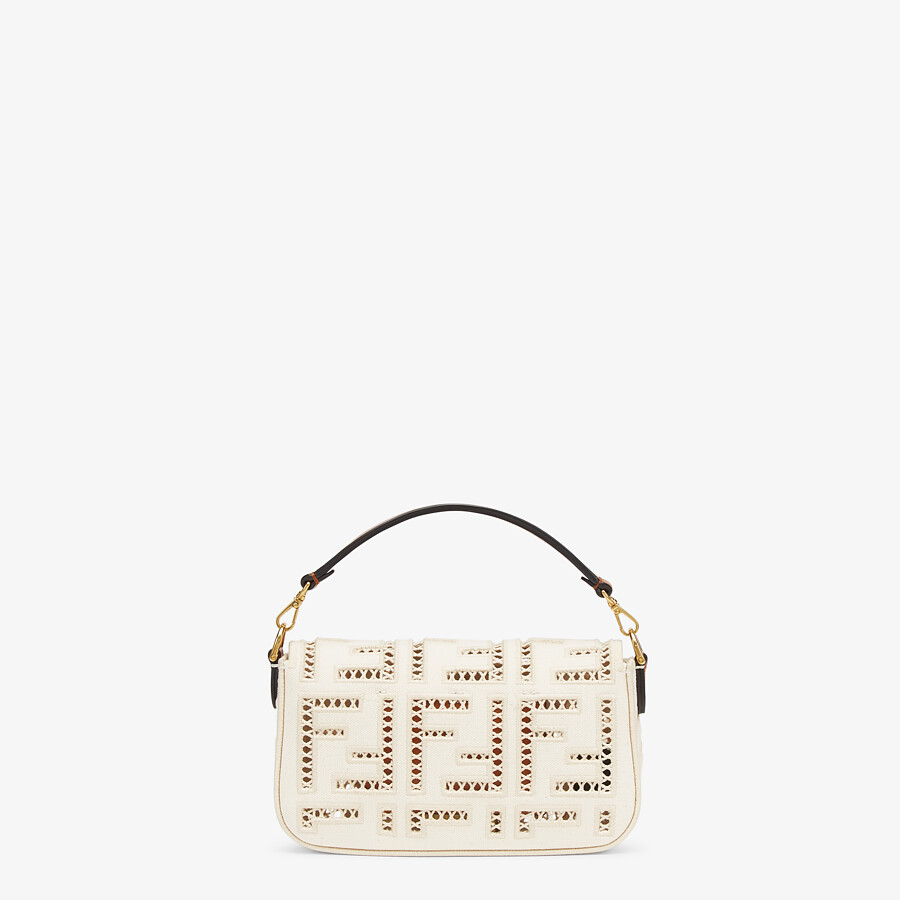 FENDI BAGUETTE MINI - White canvas bag with embroidery - view 3 detail
