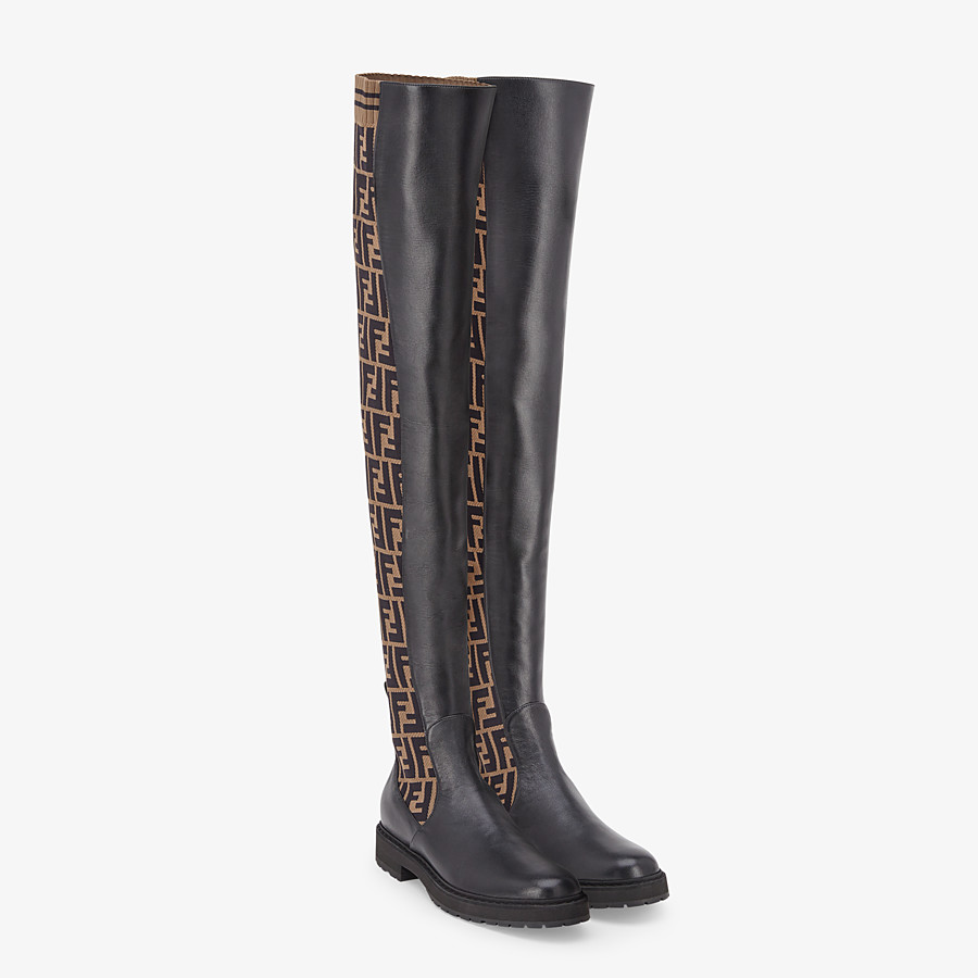FENDI BOOTS - Black leather thigh-high boots - view 4 detail