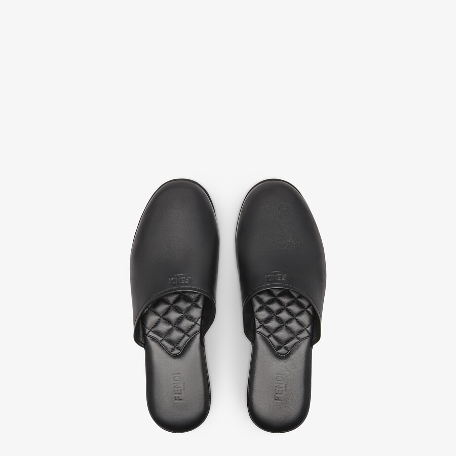 FENDI SLIPPERS - Black nappa leather mules - view 4 detail