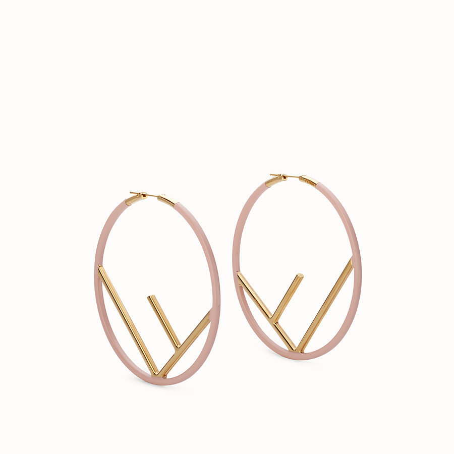 FENDI F IS FENDI EARRINGS - Gold and pink colored earrings - view 1 detail