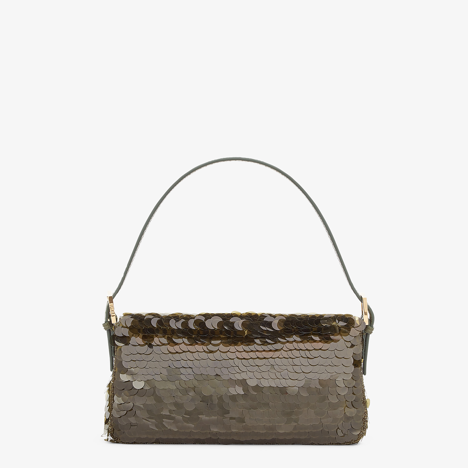 FENDI BAGUETTE 1997 - Green satin bag with sequins - view 3 detail