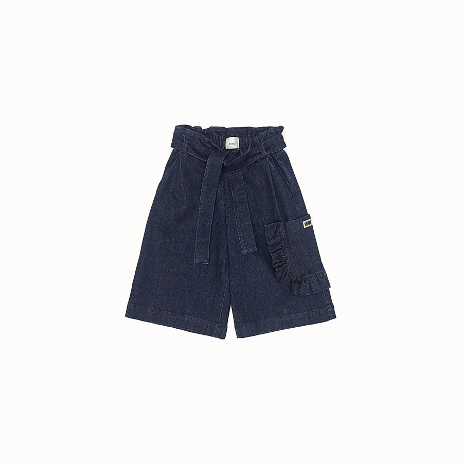 FENDI SHORTS - Blue denim Bermudas - view 1 detail