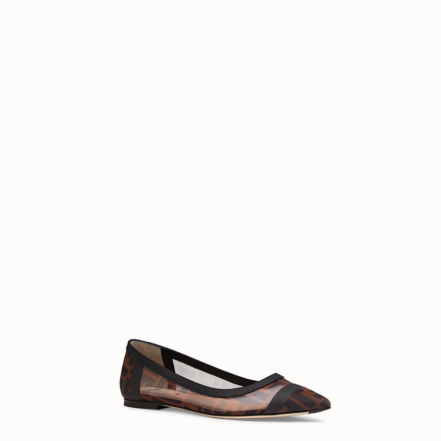 FENDI BALLERINAS - Mesh and black leather flats - view 2 detail