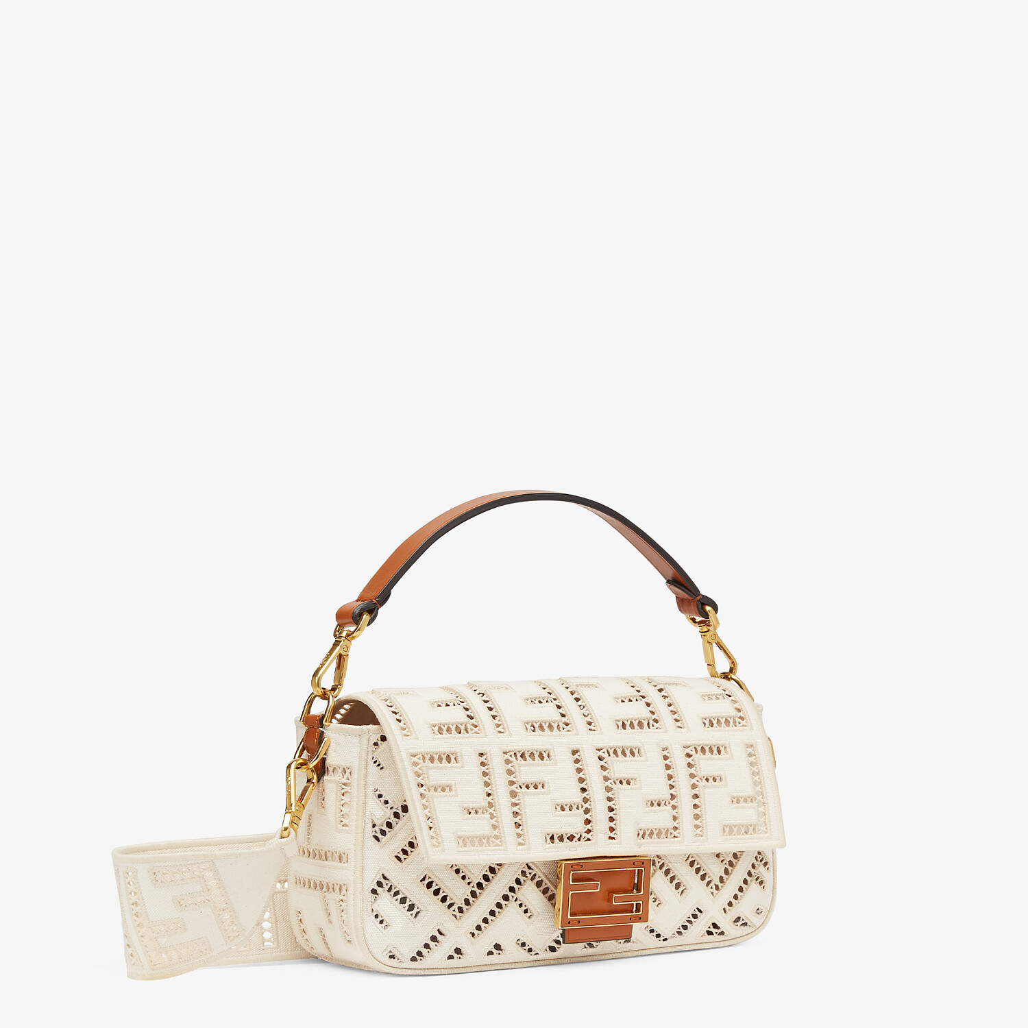 FENDI BAGUETTE - White canvas bag with embroidery - view 3 detail