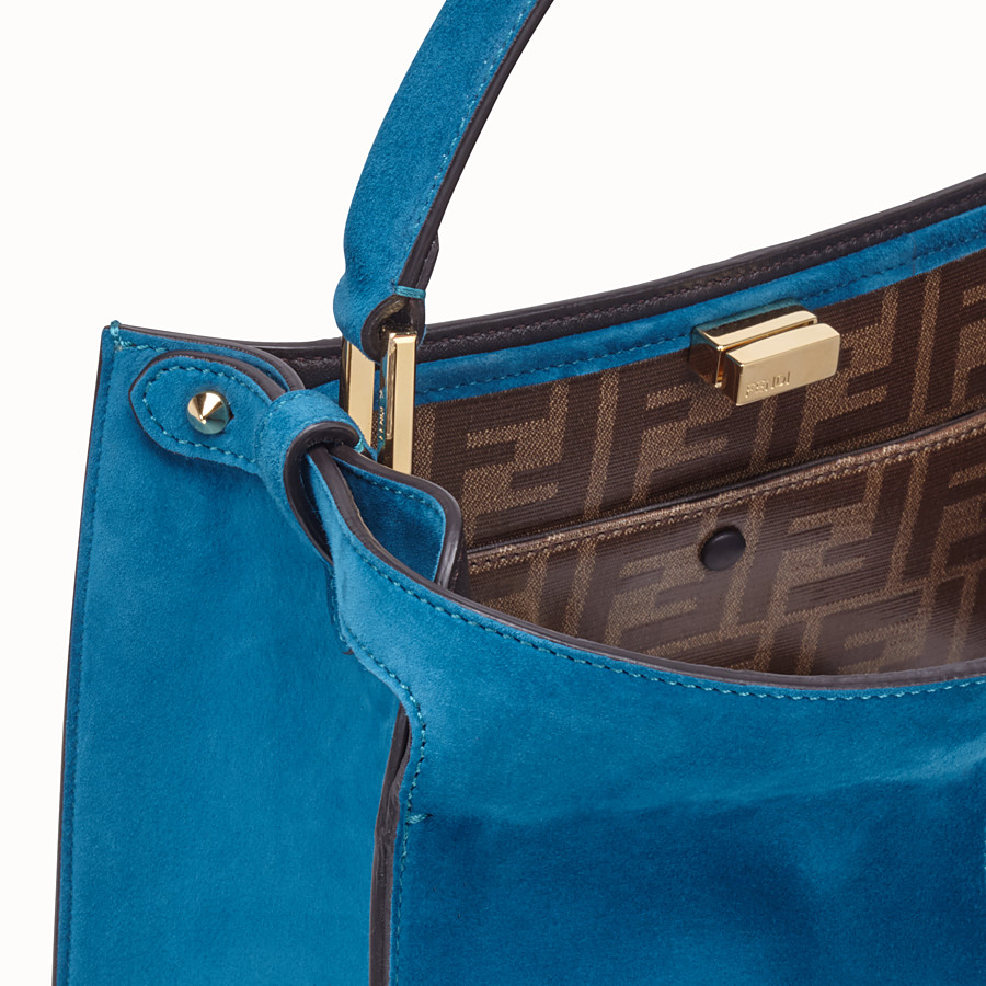 FENDI PEEKABOO X-LITE MEDIUM - Blue suede bag - view 6 detail