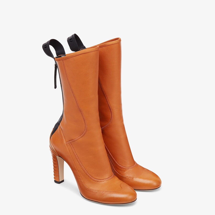 FENDI ANKLE BOOTS - Brown leather Promenade Booties - view 4 detail