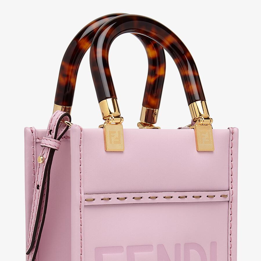 FENDI MINI SUNSHINE SHOPPER - Pink leather mini-bag - view 6 detail