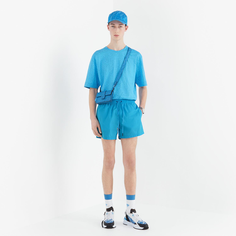 FENDI T-SHIRT - Light blue jersey T-shirt - view 4 detail