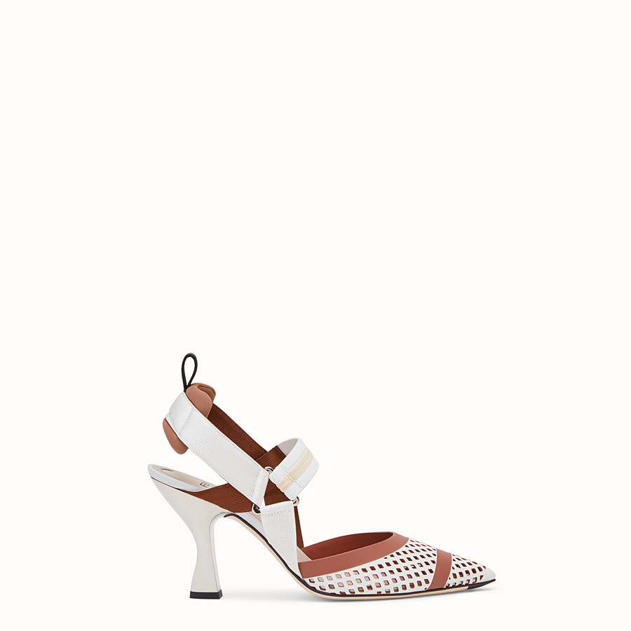 FENDI SLINGBACK - Colibrì in white leather - view 1 detail