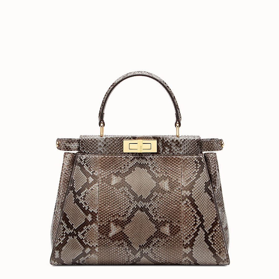 FENDI PEEKABOO REGULAR - Grey python handbag. - view 1 detail