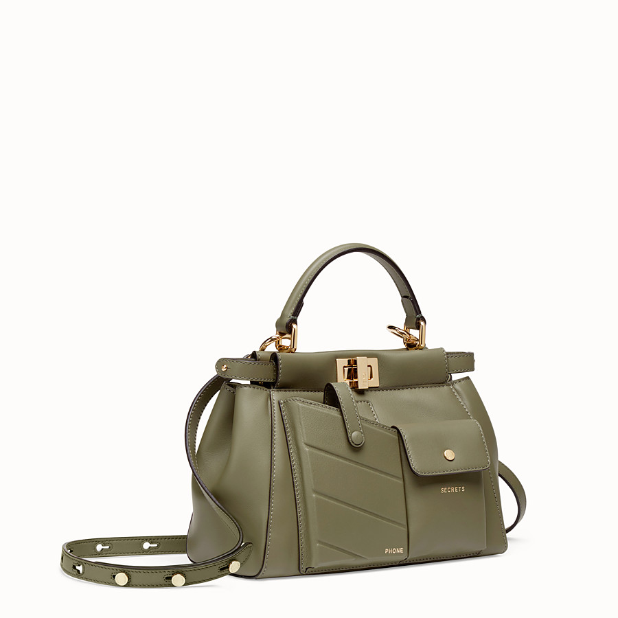 FENDI PEEKABOO MINI POCKET - Green leather bag - view 2 detail