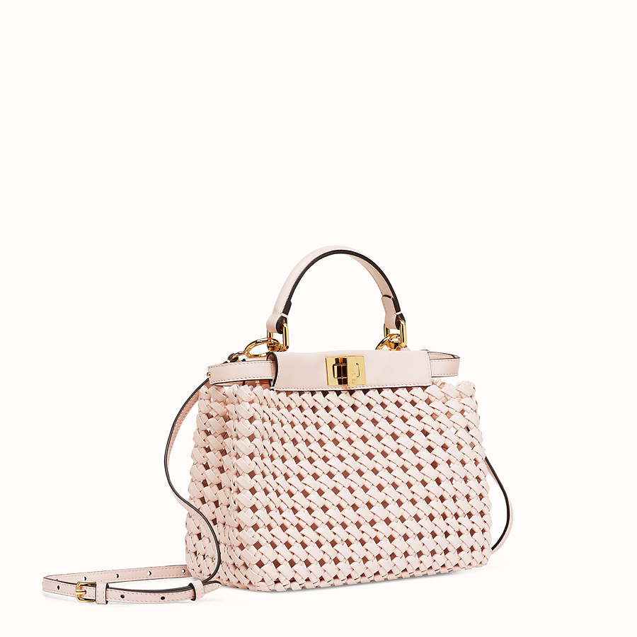 FENDI PEEKABOO ICONIC MINI - Sac en cuir rose tressé - view 3 detail