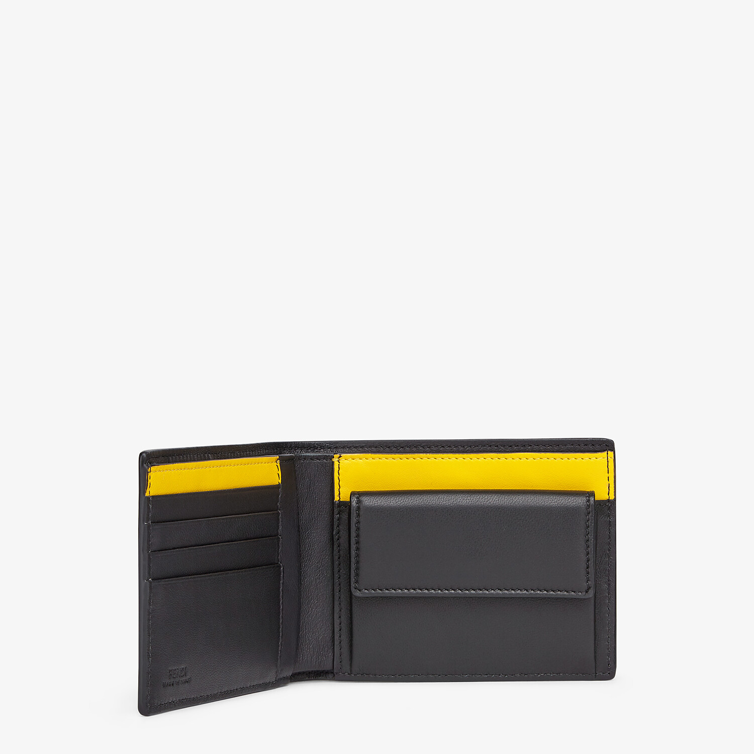 FENDI WALLET - Black nappa leather bi-fold wallet - view 3 detail