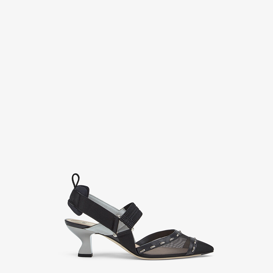 FENDI COLIBRÌ - Black mesh, medium-heel slingbacks with metal stitches - view 1 detail