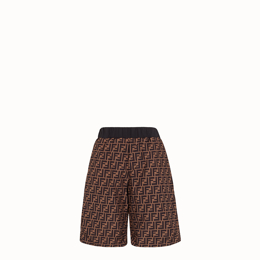 FENDI TROUSERS - Black tech fabric bermudas - view 4 detail