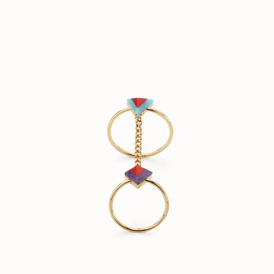 FENDI ANELLO RAINBOW - Doppio anello Rainbow in metallo con pietre - vista 1 dettaglio