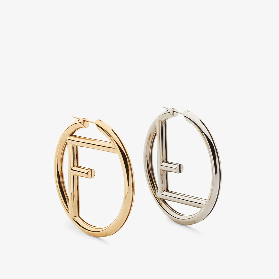 FENDI F IS FENDI EARRINGS - Gold and palladium earrings - view 1 detail