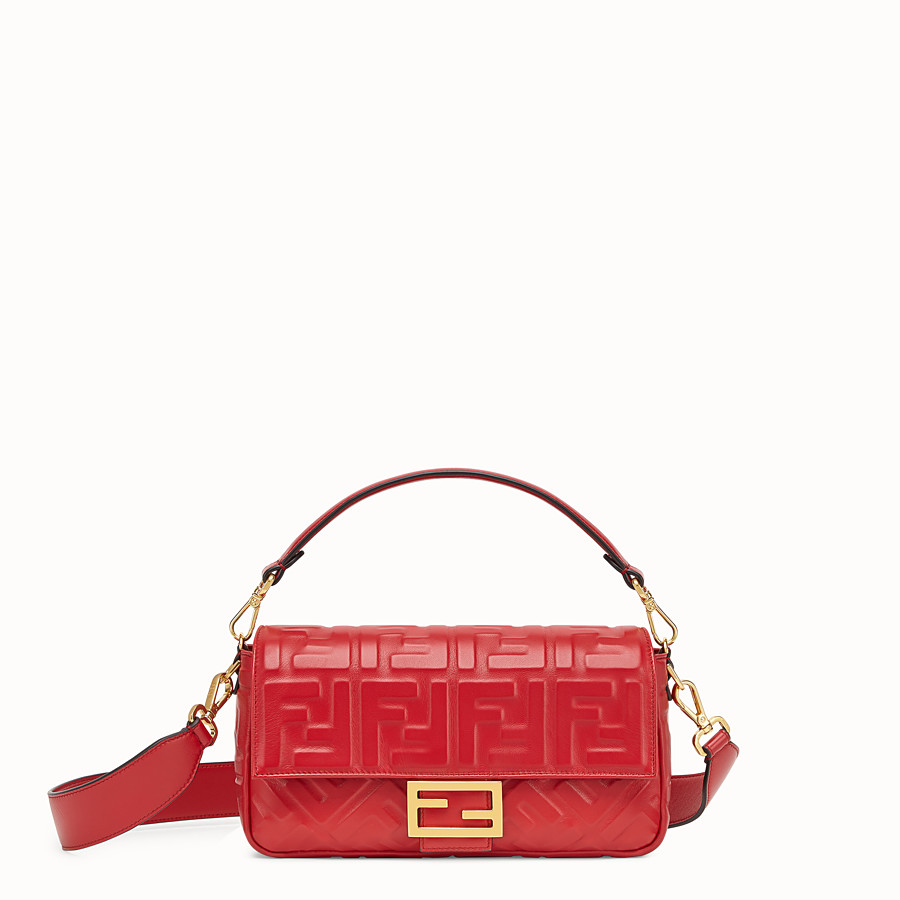 FENDI BAGUETTE - Red leather bag - view 1 detail