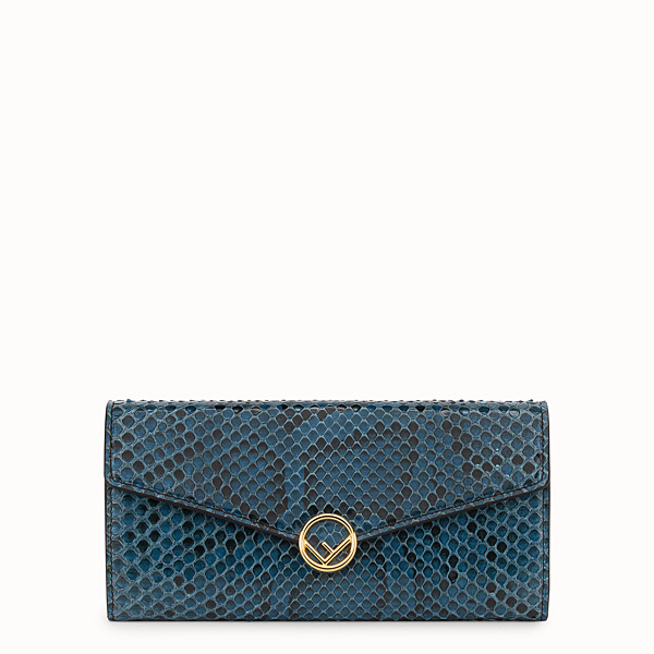 FENDI CONTINENTAL WITH CHAIN - Blue leather wallet with exotic details - view 1 small thumbnail