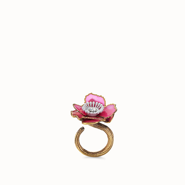 FENDI FLOWERS RING - Fuchsia enameled ring - view 1 small thumbnail