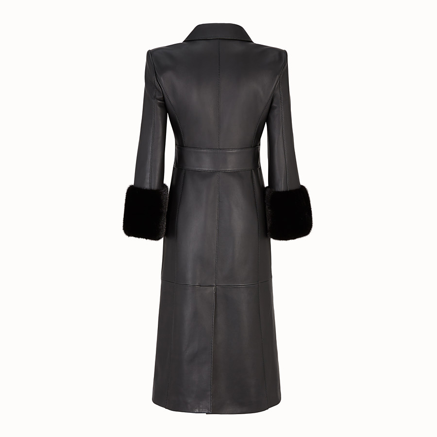 FENDI OVERCOAT - Black leather coat - view 2 detail