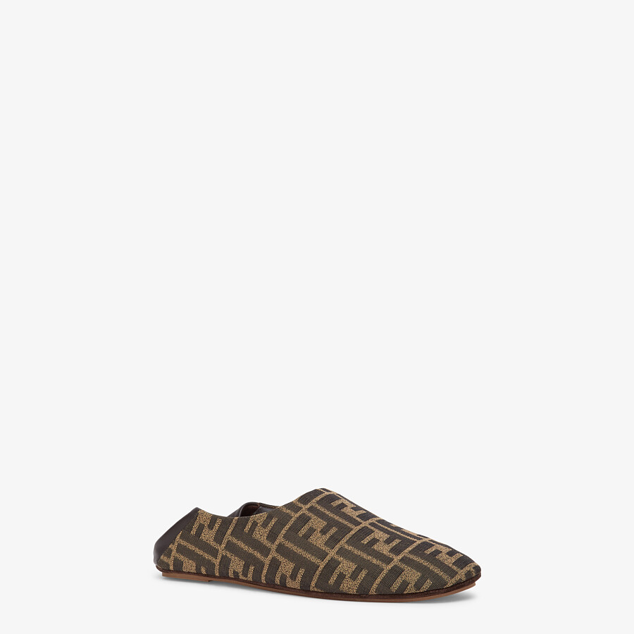 FENDI SLIPPERS - Brown fabric slippers - view 2 detail