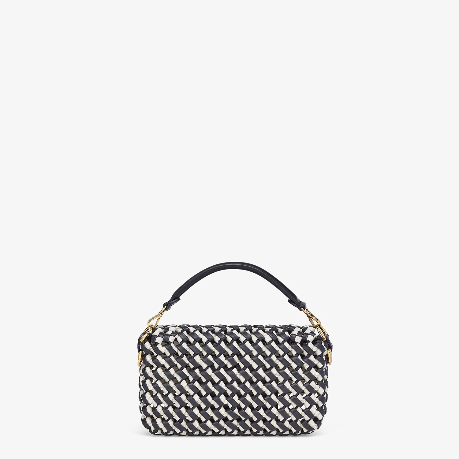 FENDI BAGUETTE - Leather and canvas interlace bag - view 4 detail