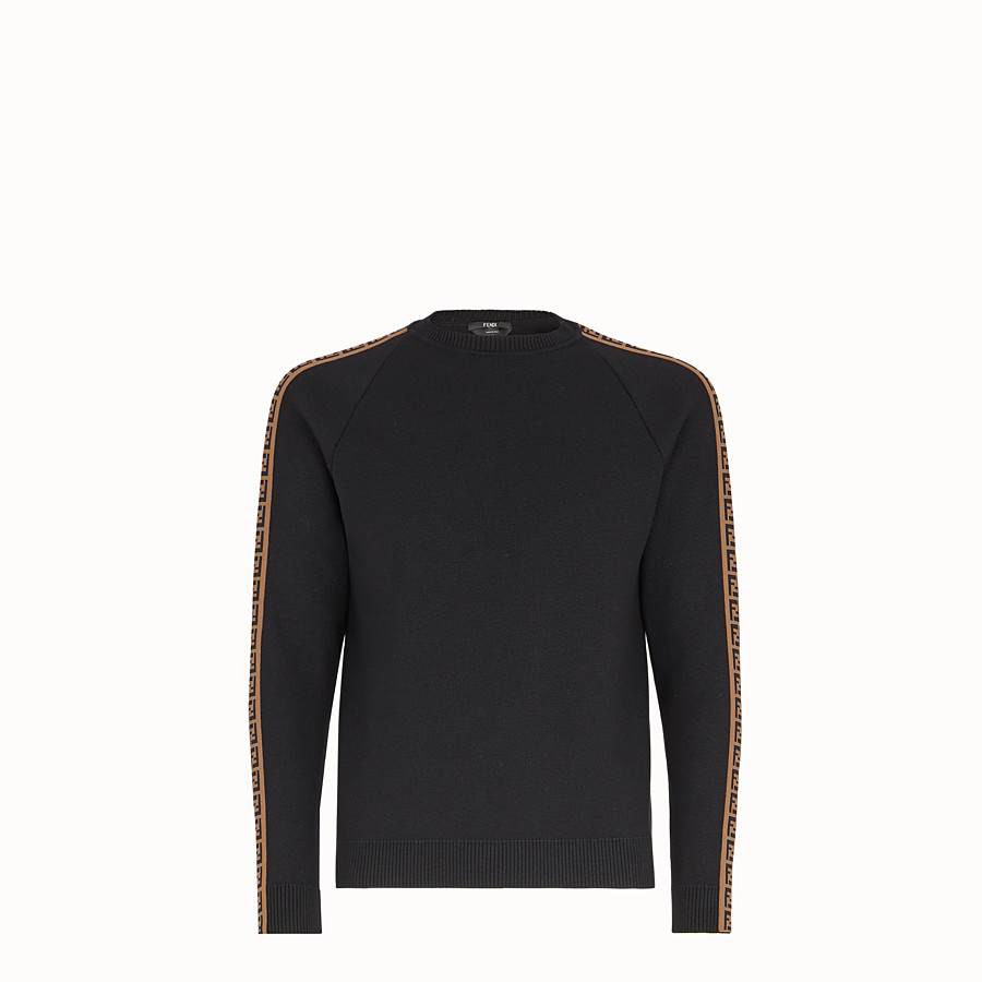FENDI PULLOVER - Black wool jumper - view 1 detail