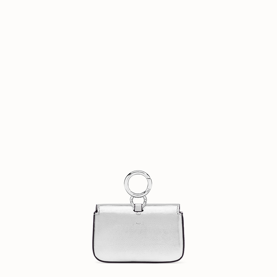 FENDI NANO BAGUETTE - Silver leather charm - view 4 detail