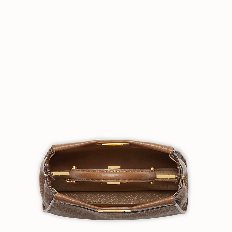 FENDI PEEKABOO REGULAR - Brown leather bag - view 5 detail