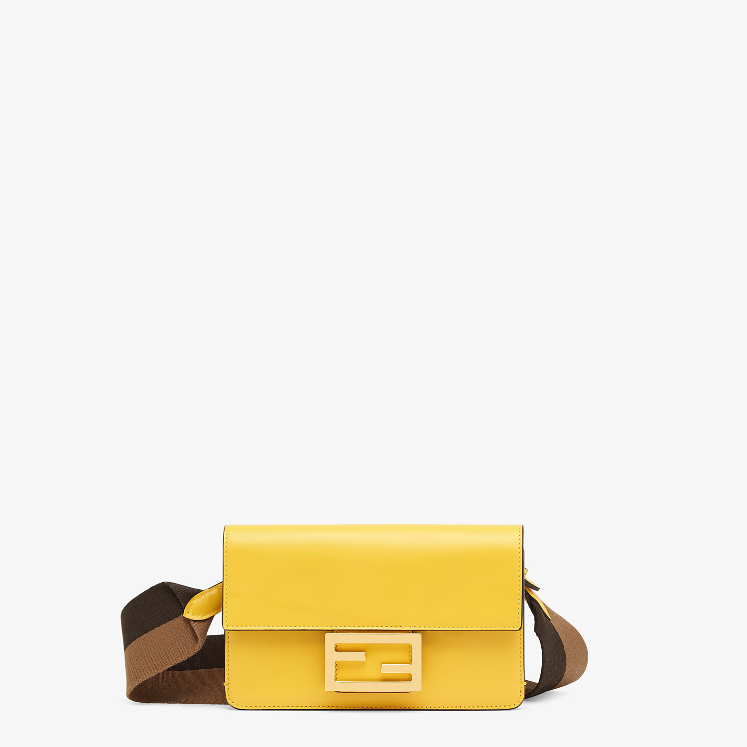 FENDI FLAT BAGUETTE - Yellow leather mini-bag - view 1 detail