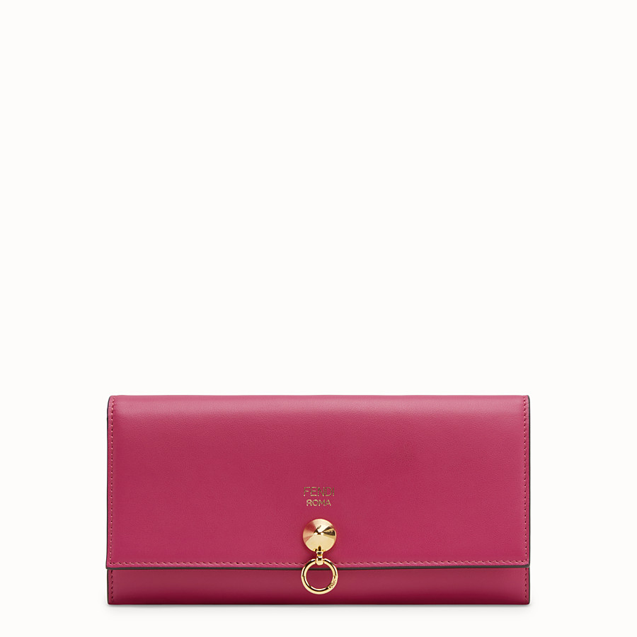 FENDI CONTINENTAL - Pink leather wallet - view 1 detail