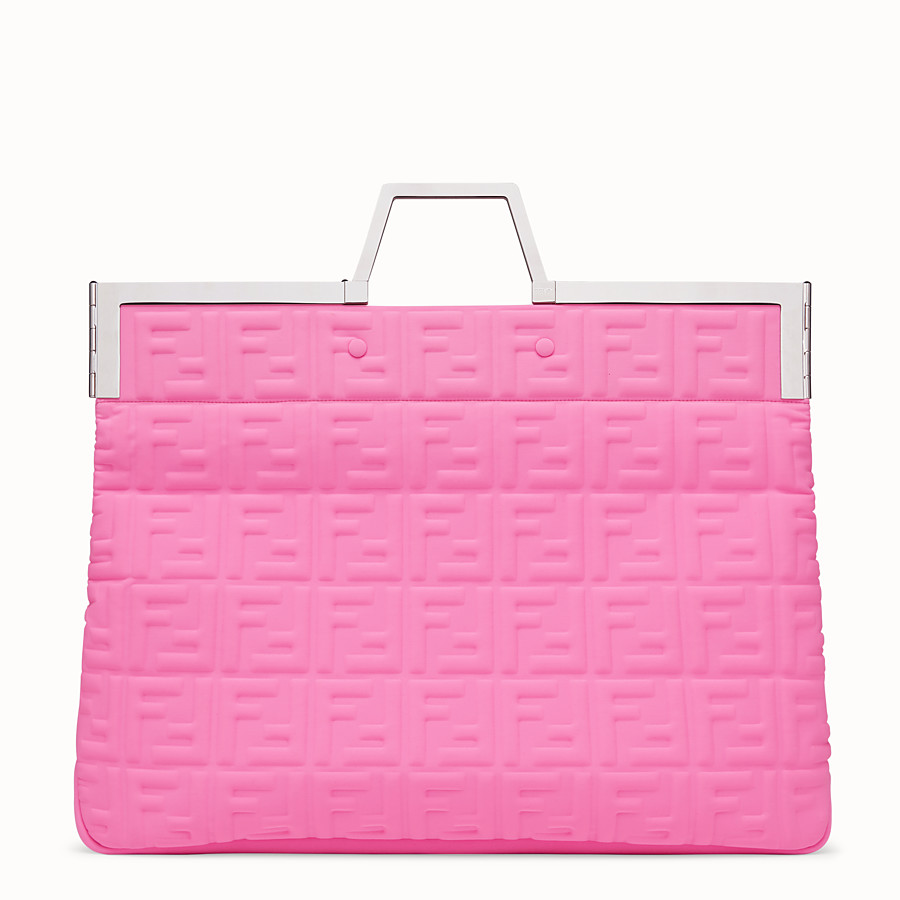 FENDI FLAT SHOPPING BAG LARGE - Shopper in pink Lycra® - view 5 detail