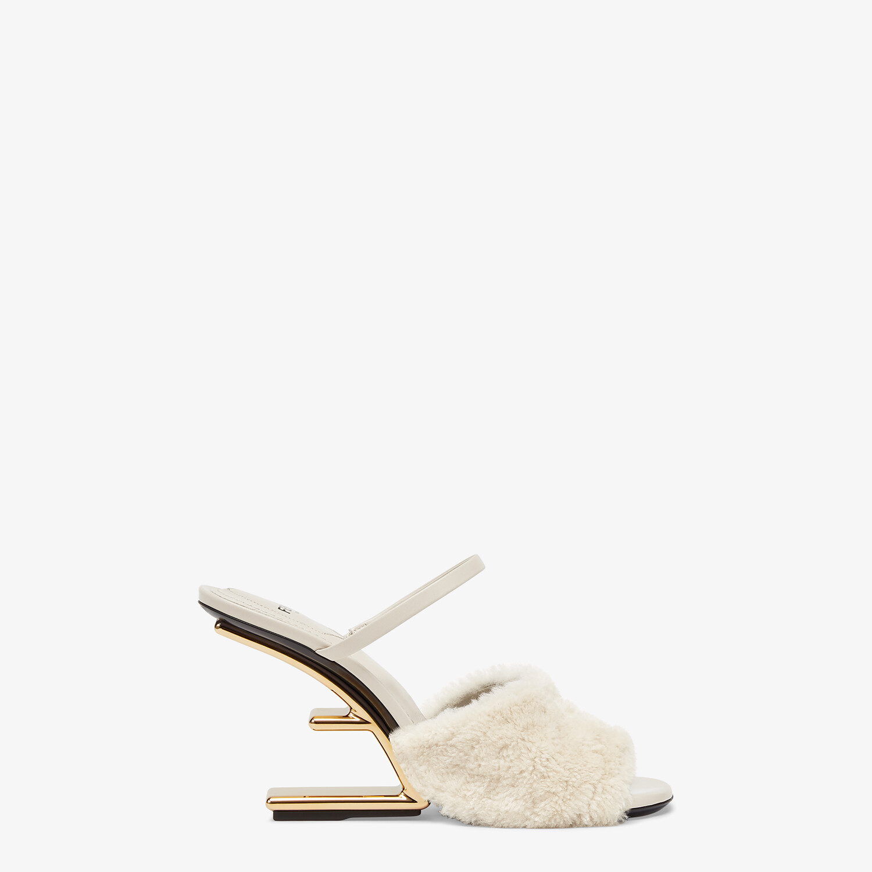 FENDI FENDI FIRST - White sheepskin high-heeled sandals - view 1 detail