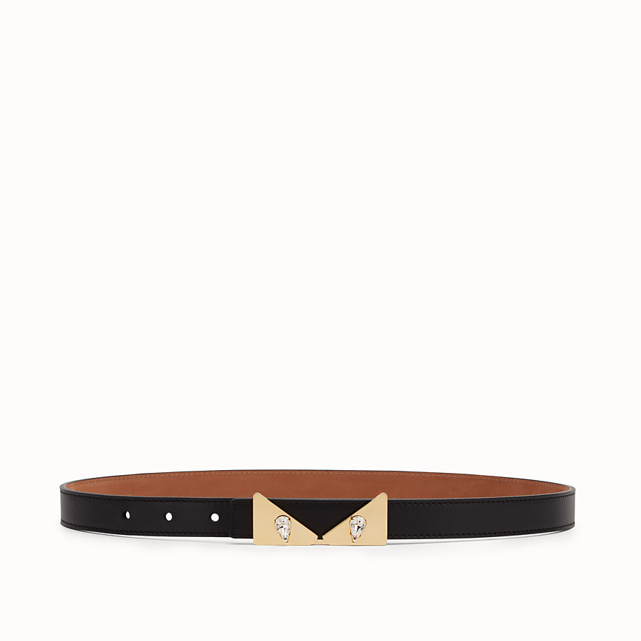 FENDI CRYSTAL WONDERS BELT - Black leather belt - view 1 detail