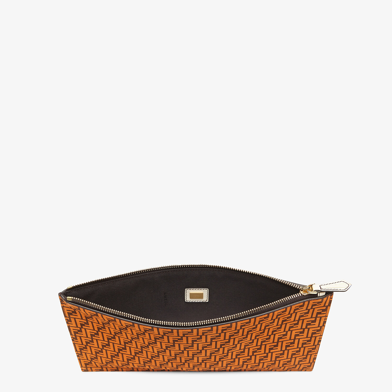FENDI FLAT POUCH MEDIUM - Orange leather pouch - view 3 detail