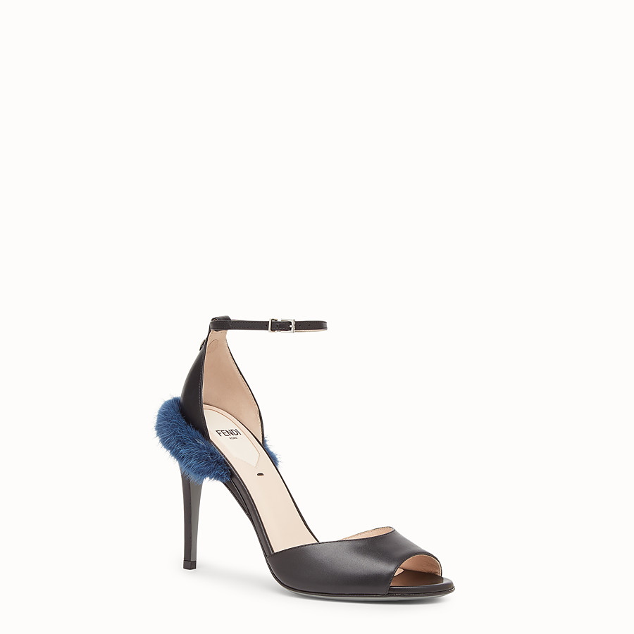 FENDI SANDALS - Black leather high sandals - view 2 detail