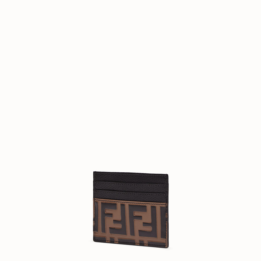 FENDI CARD HOLDER - Brown leather flat card holder - view 2 detail