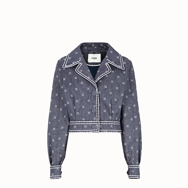 FENDI BLOUSON JACKET - Blue drill jacket - view 1 small thumbnail