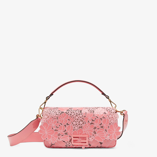 Embroidered pink patent leather bag