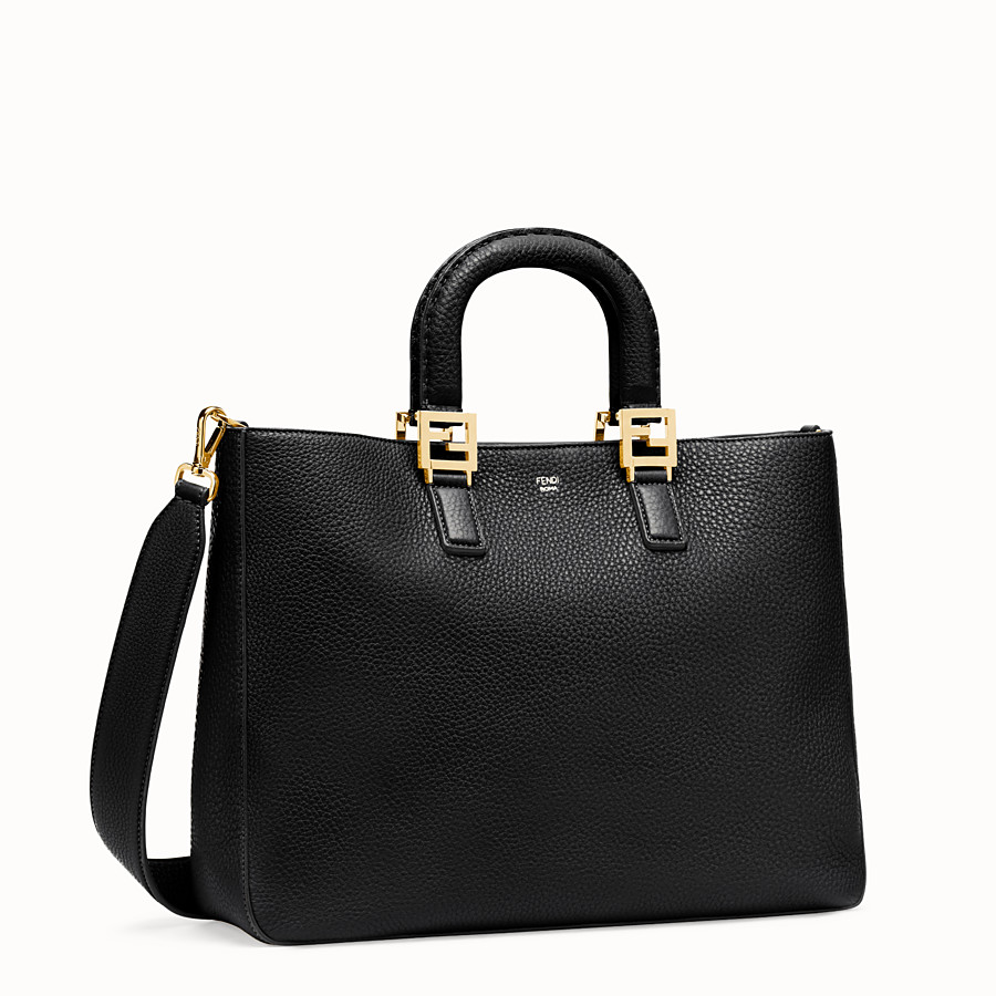 FENDI FF TOTE MEDIUM - Black leather bag - view 2 detail